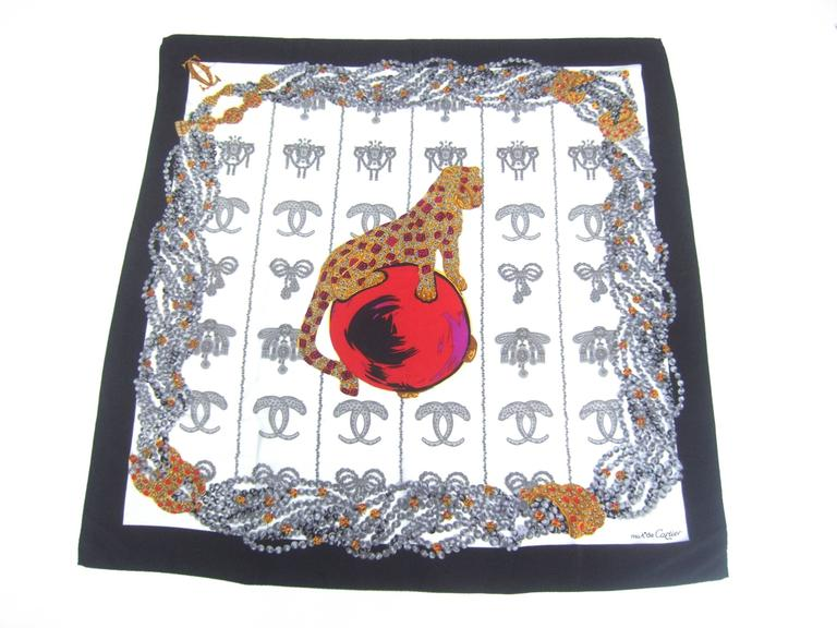 Cartier Paris Elegant Silk Jeweled Panther Scarf c 1980s 7
