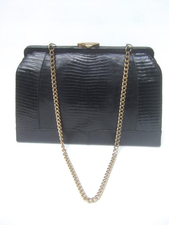 Sleek Ebony Lizard Skin Structured Handbag c 1960 2