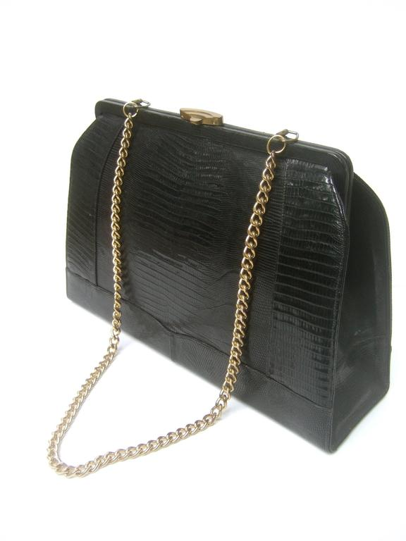 Sleek Ebony Lizard Skin Structured Handbag c 1960 5