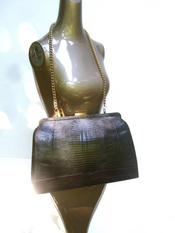 Sleek Ebony Lizard Skin Structured Handbag c 1960 6
