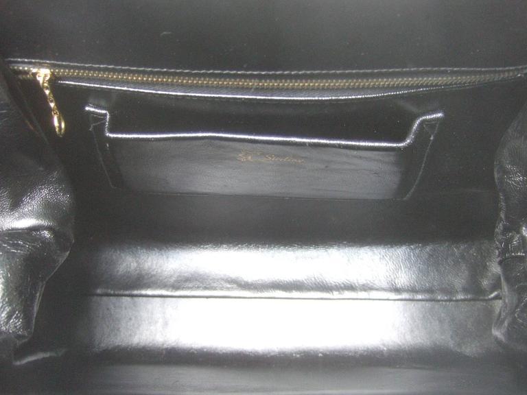 Sleek Ebony Lizard Skin Structured Handbag c 1960 8