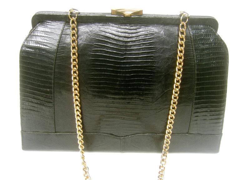 Sleek Ebony Lizard Skin Structured Handbag c 1960 7