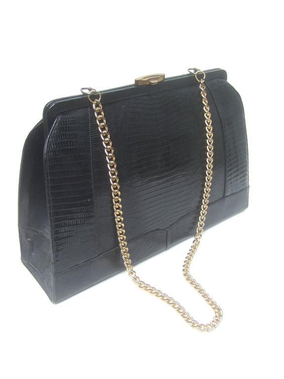 Sleek Ebony Lizard Skin Structured Handbag c 1960 10