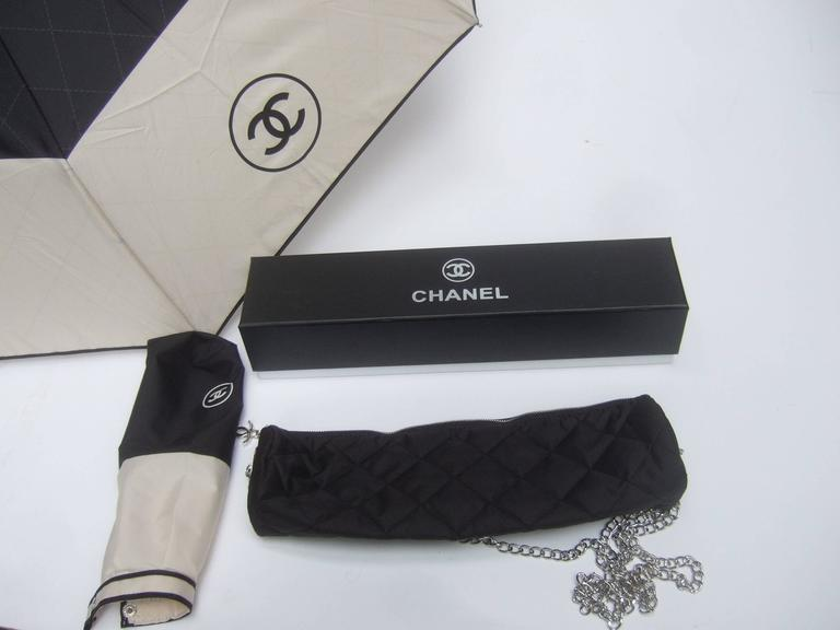Chanel Stylish Black and Tan Nylon Umbrella in Chanel Box 3