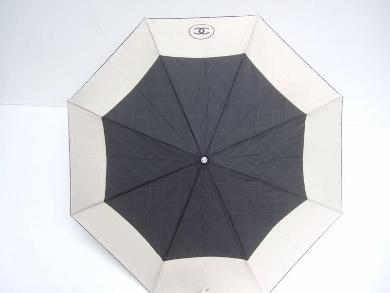 Chanel Stylish Black and Tan Nylon Umbrella in Chanel Box 6