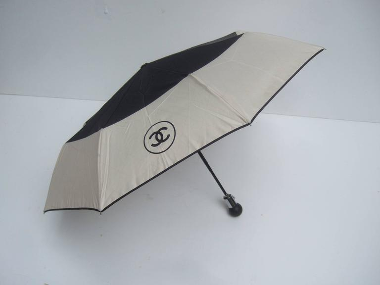 Chanel Stylish Black and Tan Nylon Umbrella in Chanel Box 7