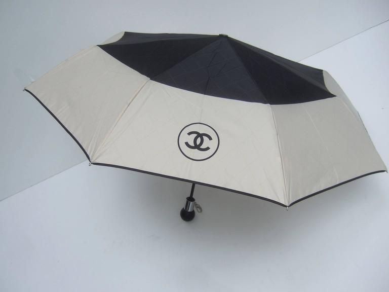 Chanel Stylish Black and Tan Nylon Umbrella in Chanel Box 9