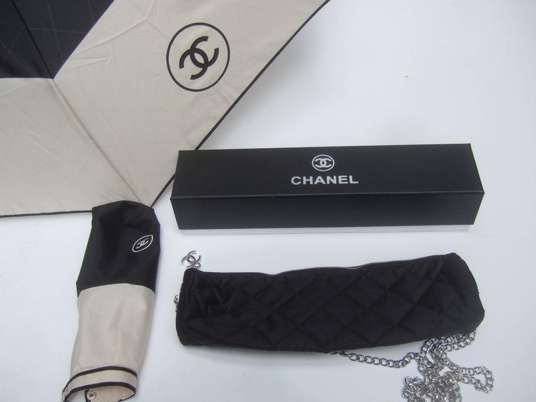 Chanel Stylish Black and Tan Nylon Umbrella in Chanel Box 10