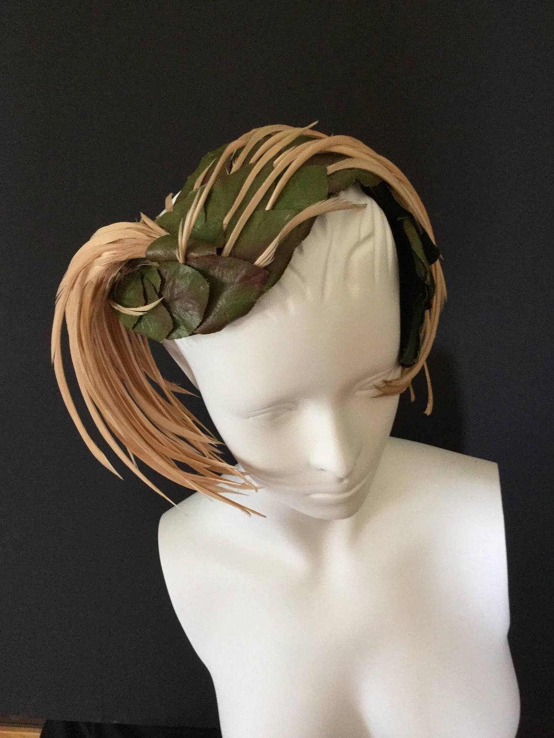 Schiaparelli Forest Leaf and Feather Hat. 1950's. For Sale ...