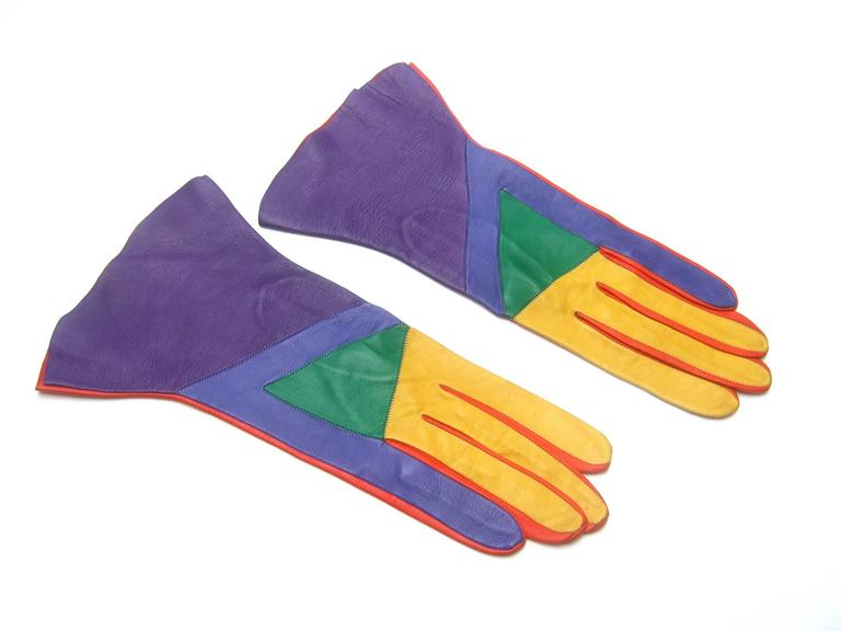 Mod Italian Leather Color Block Gloves  2