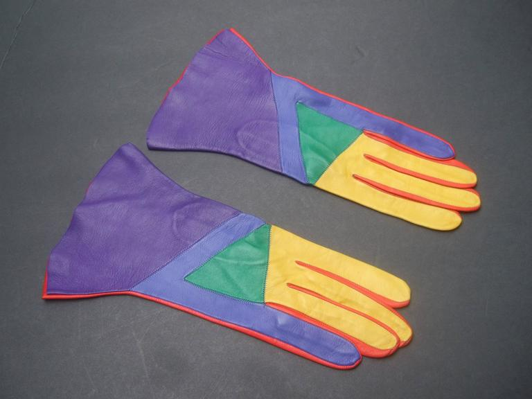 Mod Italian Leather Color Block Gloves  5