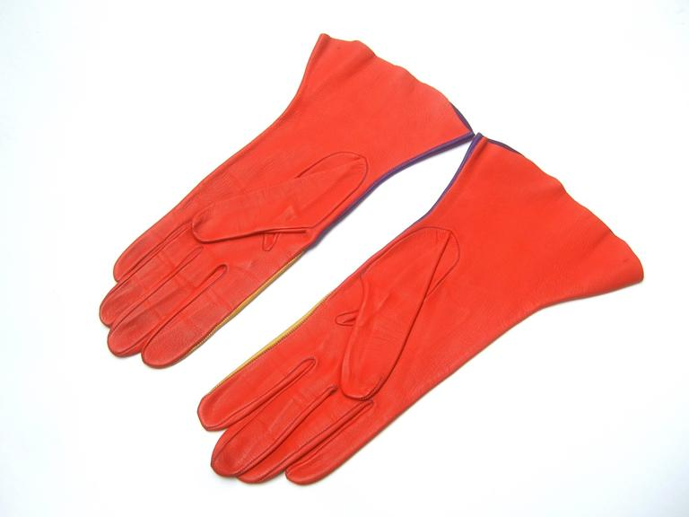 Mod Italian Leather Color Block Gloves  7
