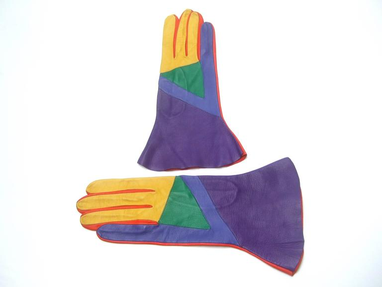 Mod Italian Leather Color Block Gloves  8