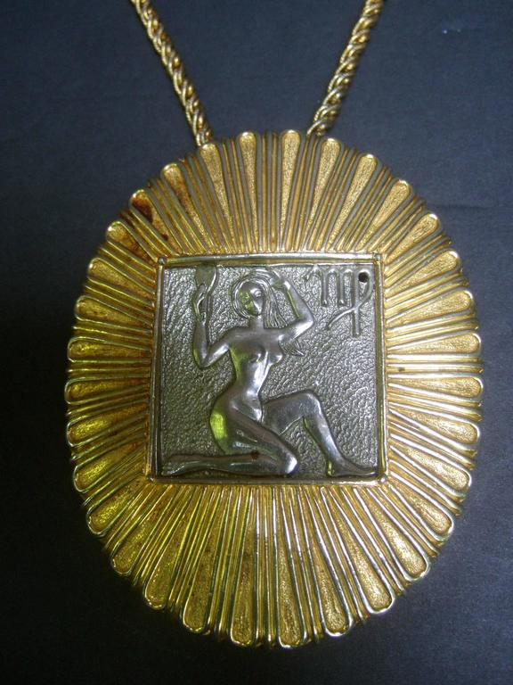 Judith Leiber Figural Woman Pendant Necklace c 1970s For Sale 1