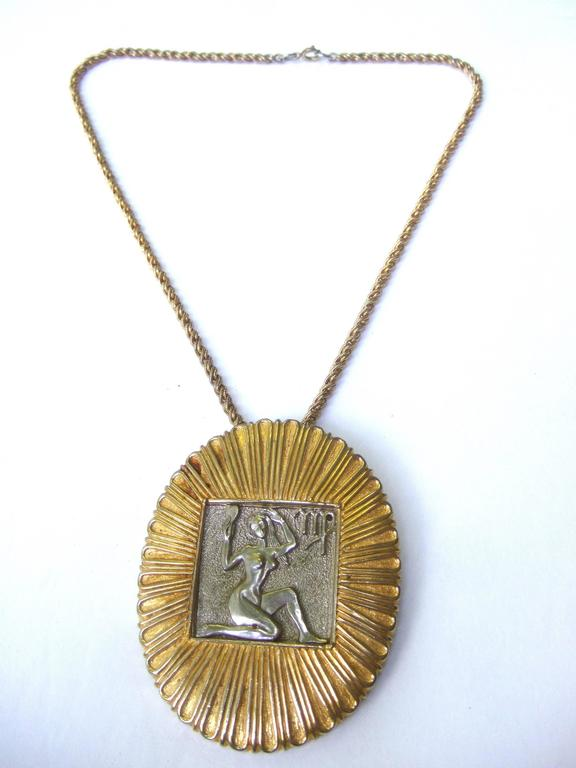 Judith Leiber Figural Woman Pendant Necklace c 1970s For Sale 2