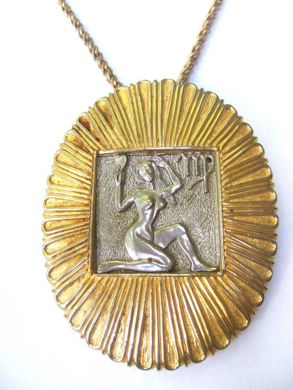 Judith Leiber Figural Woman Pendant Necklace c 1970s In Excellent Condition For Sale In Santa Barbara, CA