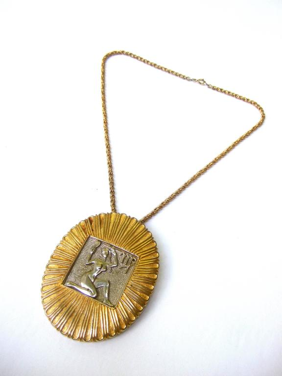 Judith Leiber Figural Woman Pendant Necklace c 1970s For Sale 4