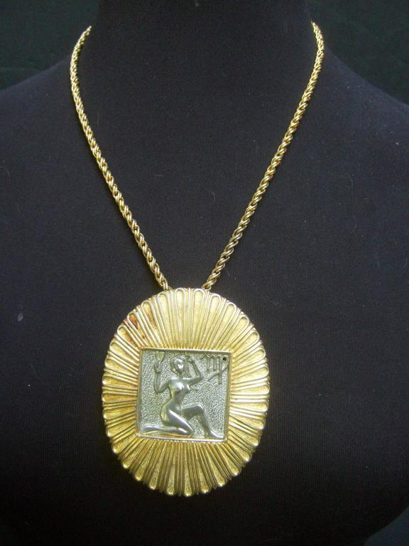 Women's Judith Leiber Figural Woman Pendant Necklace c 1970s For Sale