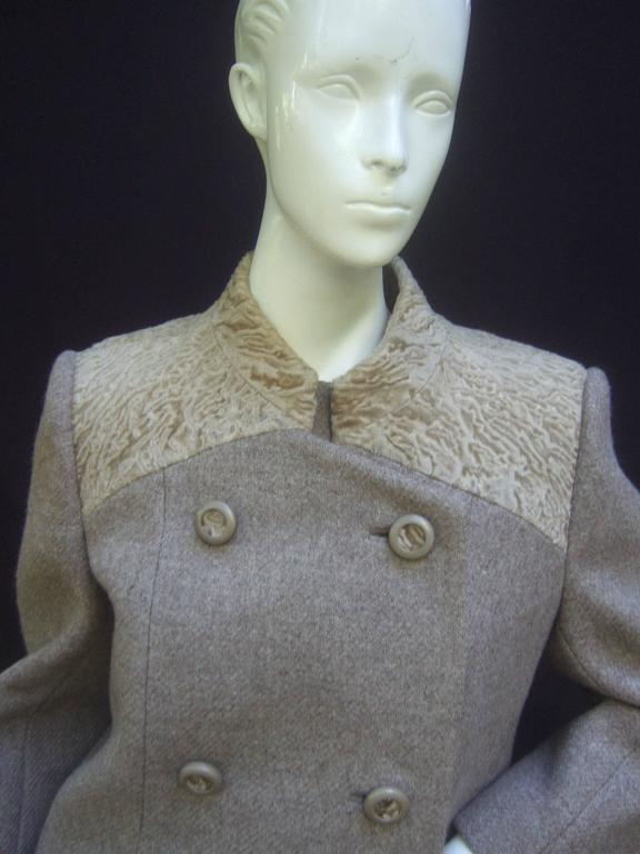 Peck & Peck Rare broad tail trim brown wool jacket & sheath c 1970s The stylish ensemble is designed with Persian lamb broad tail fur detail on the front, back shoulders & frames the collar    The large beige resin buttons on the jacket are
