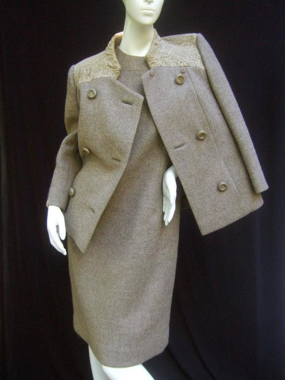 Gray Peck & Peck Rare Broadtail Trim Brown Wool Jacket & Sheath Ensemble c 1970 For Sale