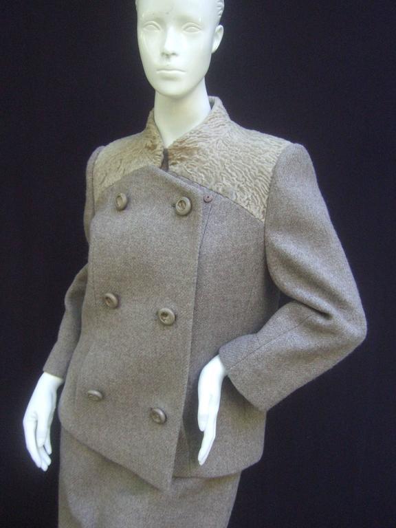 Women's Peck & Peck Rare Broadtail Trim Brown Wool Jacket & Sheath Ensemble c 1970 For Sale