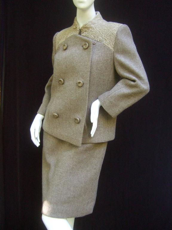 Peck & Peck Rare Broadtail Trim Brown Wool Jacket & Sheath Ensemble c 1970 For Sale 2
