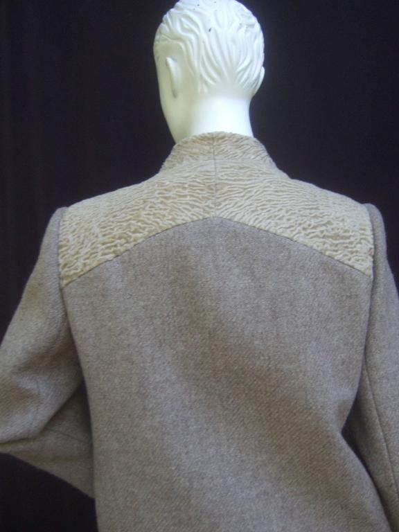 Peck & Peck Rare Broadtail Trim Brown Wool Jacket & Sheath Ensemble c 1970 For Sale 4