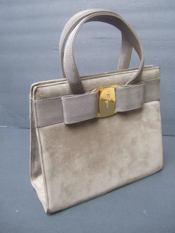 Salvatore Ferragamo Italy Mocha Brown Suede Handbag c 1990  For Sale 2