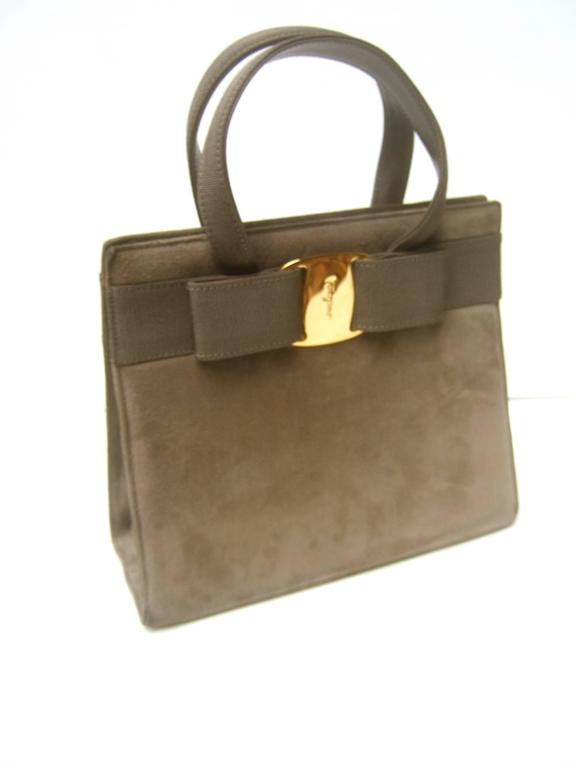 Salvatore Ferragamo Italy Mocha Brown Suede Handbag c 1990  For Sale 5