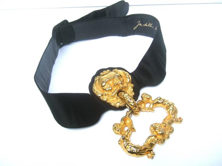 Judith Leiber Massive Gilt Metal Door Knocker Satin Belt c 1970 For Sale 5