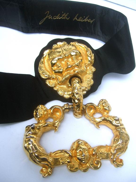 Judith Leiber Massive Gilt Metal Door Knocker Satin Belt c 1970 For Sale 2