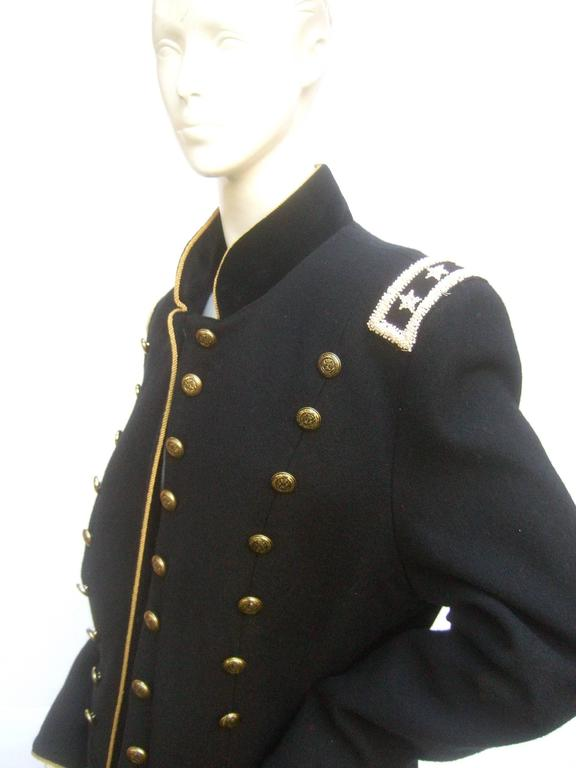 Black Wool Women S Military Style Jacket At 1stdibs