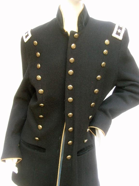 Black Wool Women s Military Style Jacket In Excellent Condition For Sale In  Santa Barbara b65084a9a1