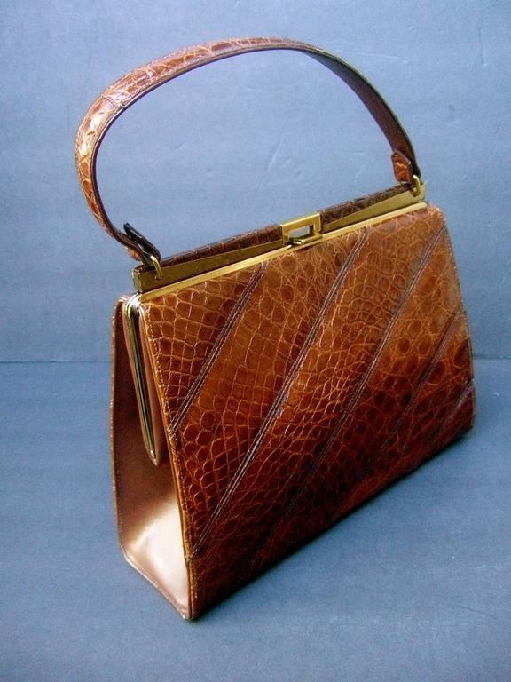 Chic Genuine Brown Alligator Handbag ca 1960  6