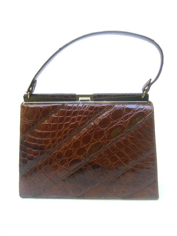 Women's Chic Genuine Brown Alligator Handbag ca 1960  For Sale