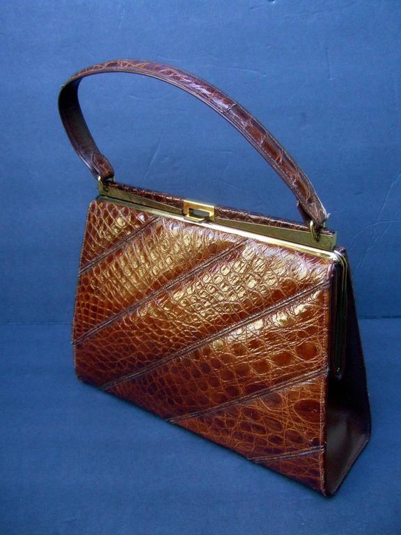 Chic Genuine Brown Alligator Handbag ca 1960  5