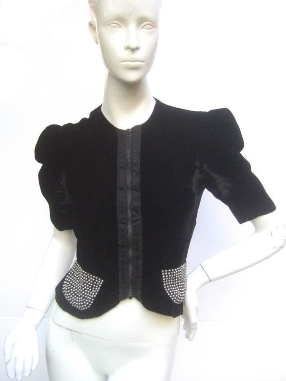 Saks Fifth Avenue Black Silk Velvet Grommet Jacket ca 1960  In Good Condition For Sale In Santa Barbara, CA