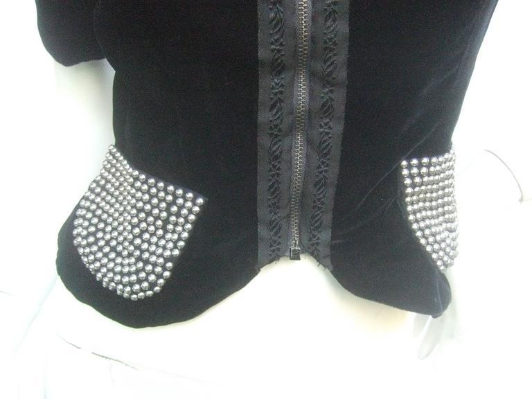 Women's Saks Fifth Avenue Black Silk Velvet Grommet Jacket ca 1960  For Sale
