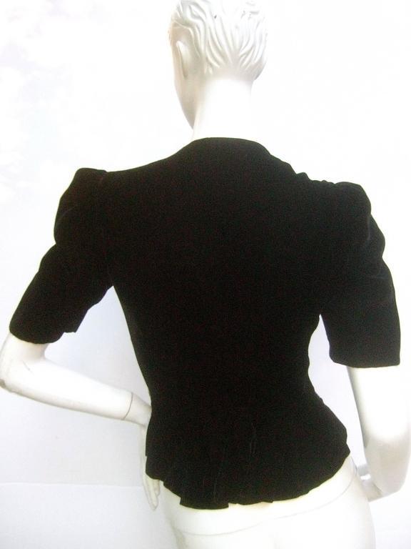 Saks Fifth Avenue Black Silk Velvet Grommet Jacket ca 1960  For Sale 3