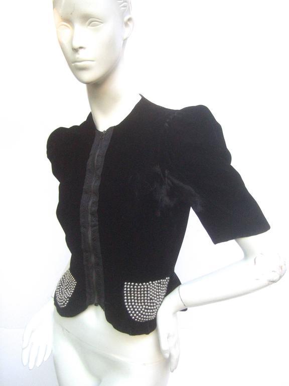 Saks Fifth Avenue Black Silk Velvet Grommet Jacket ca 1960  For Sale 1