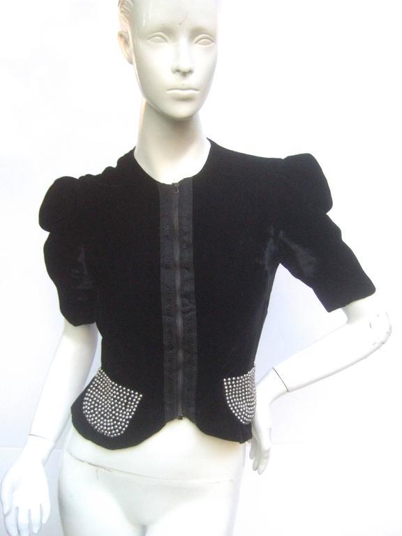 Saks Fifth Avenue Black Silk Velvet Grommet Jacket ca 1960  For Sale 2