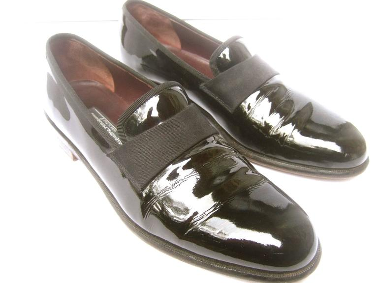 Salvatore Ferragamo Mens Black Patent Leather Dress Shoes For Sale