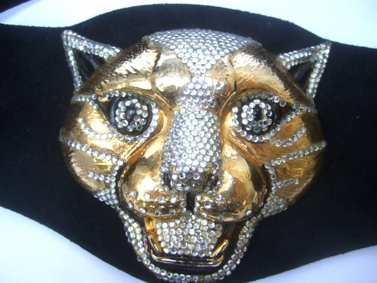 Spectacular Massive Jeweled Suede Panther Buckle Belt c 1970 In Excellent Condition For Sale In Santa Barbara, CA