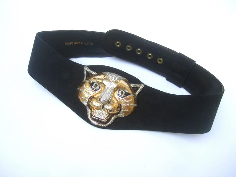 Women's Spectacular Massive Jeweled Suede Panther Buckle Belt c 1970 For Sale