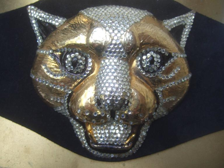 Spectacular Massive Jeweled Suede Panther Buckle Belt c 1970 For Sale 2