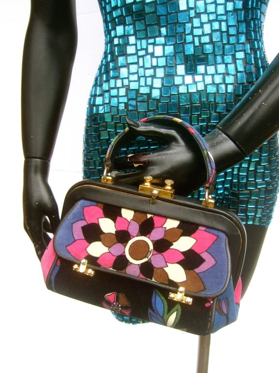 Black Emilio Pucci Rare Velvet Leather Trim Handbag ca 1970 For Sale