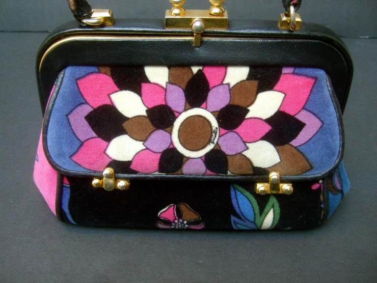Emilio Pucci Rare Velvet Leather Trim Handbag ca 1970 In Good Condition For Sale In Santa Barbara, CA