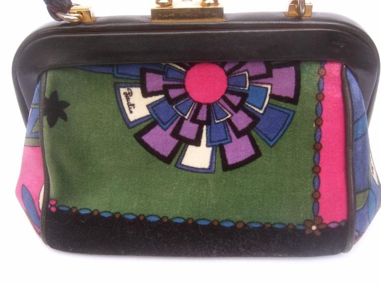 Emilio Pucci Rare Velvet Leather Trim Handbag ca 1970 For Sale 1