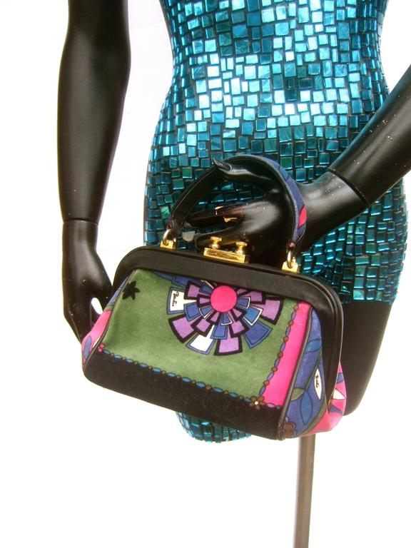 Emilio Pucci Rare Velvet Leather Trim Handbag ca 1970 For Sale 3