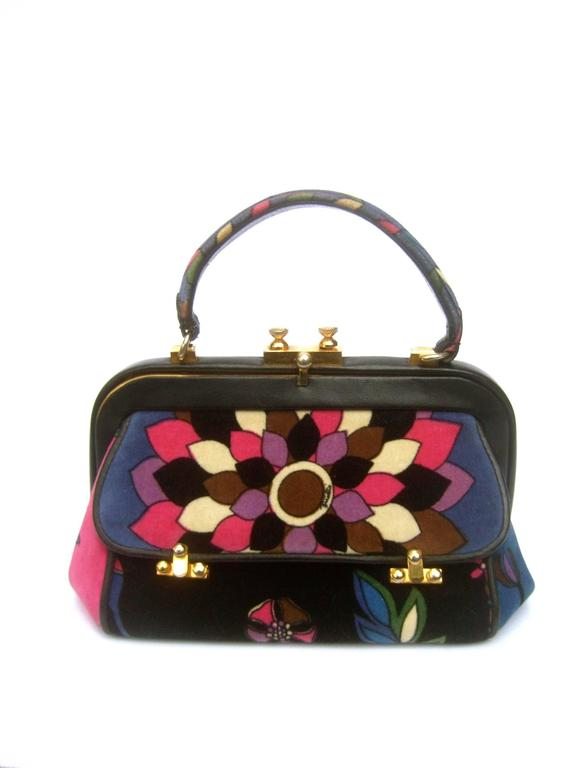 Emilio Pucci Rare Velvet Leather Trim Handbag ca 1970 For Sale 4